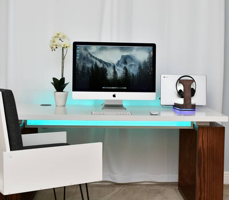 Modern Gaming Desk With Led Pdf Plan Diy Creators