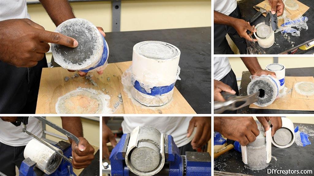 DIY Concrete Lamp - Removing PVC