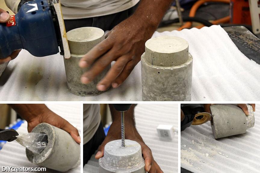 DIY Concrete Lamp - Sanding