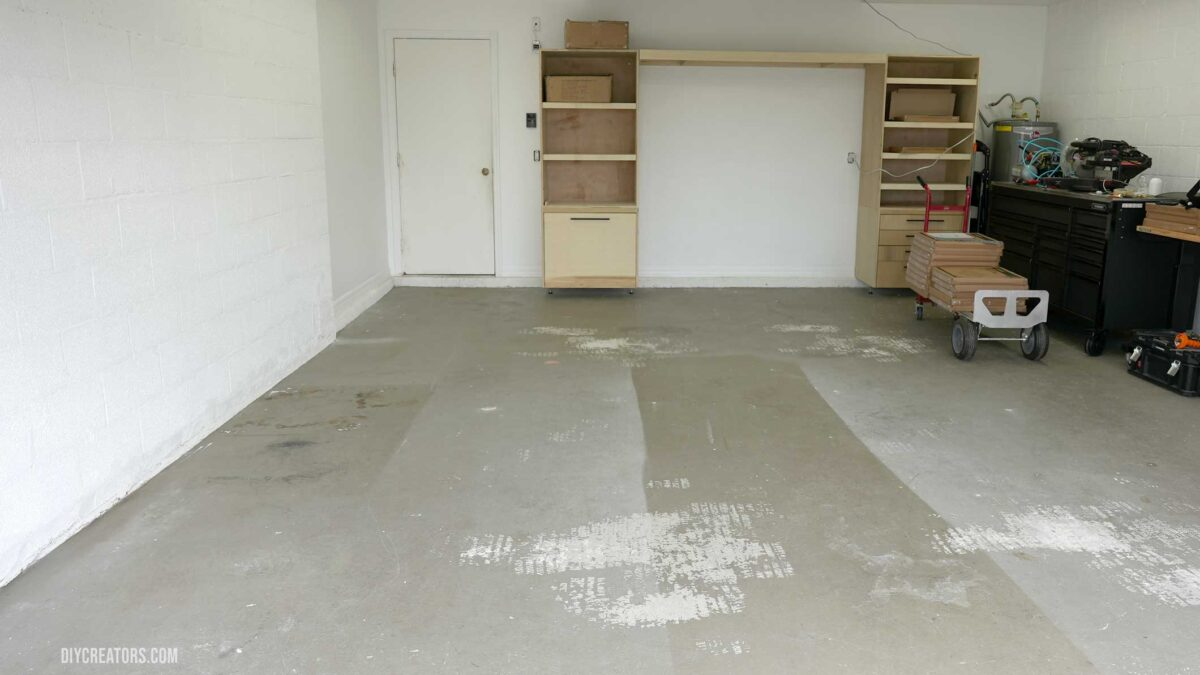 Garage before installing the Husky PVC Flooring