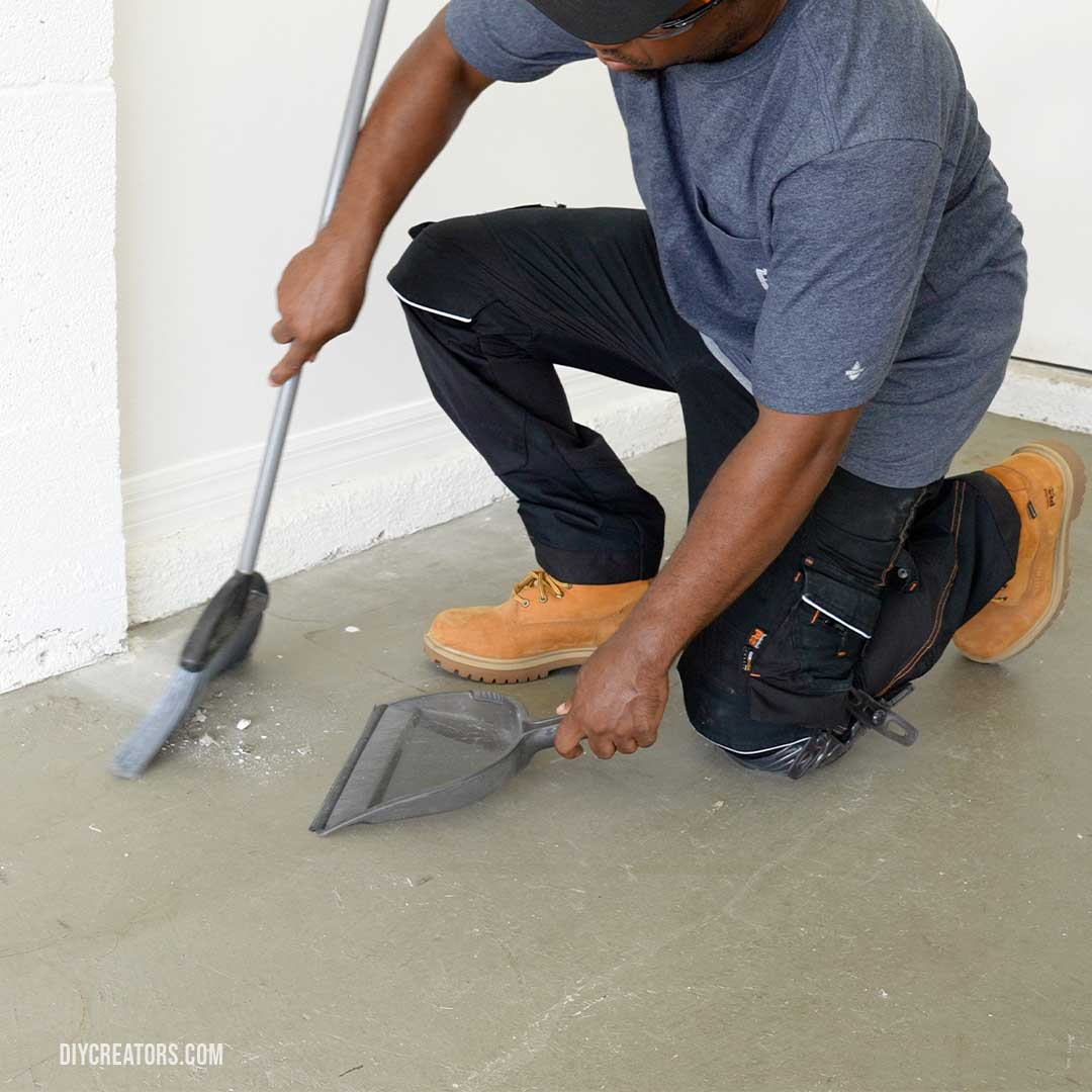Cleaning the floor before installing Husky PVC tiles