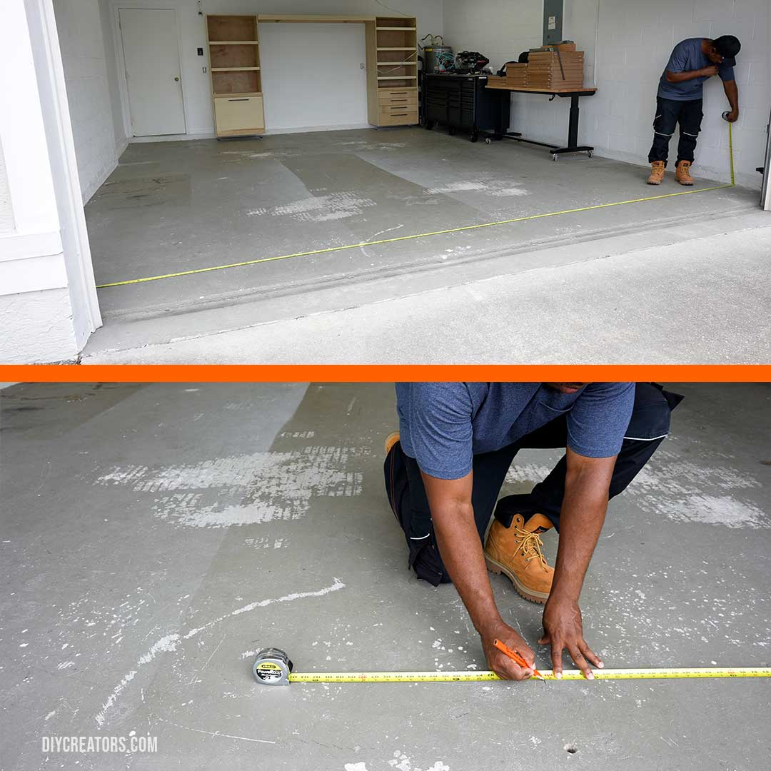 Lay out the Husky PVC tiles: Measuring the width of the garage