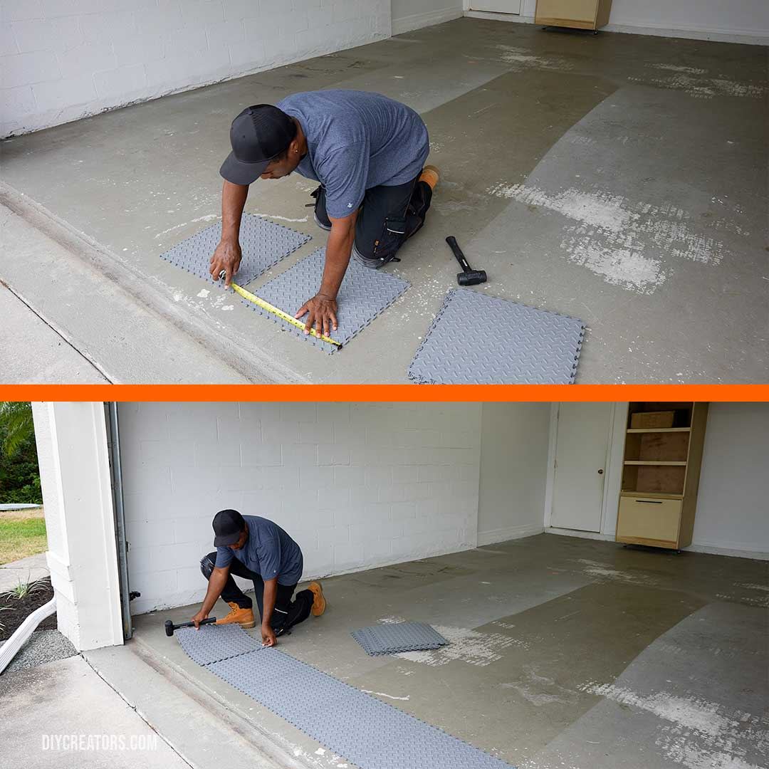 Lay out the Husky PVC tiles starting from the center