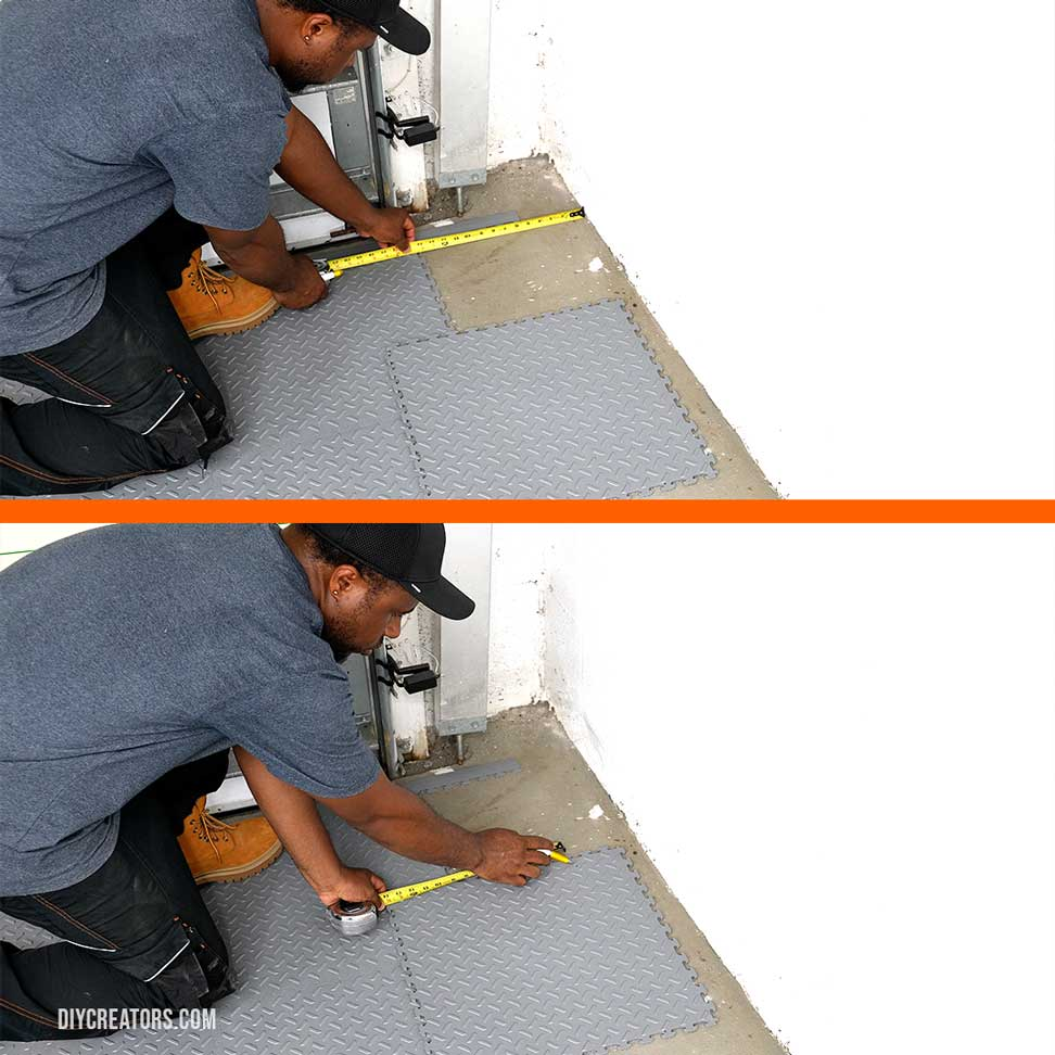 Measure the from the wall to cut the Husky PVC tiles that will be running against the wall
