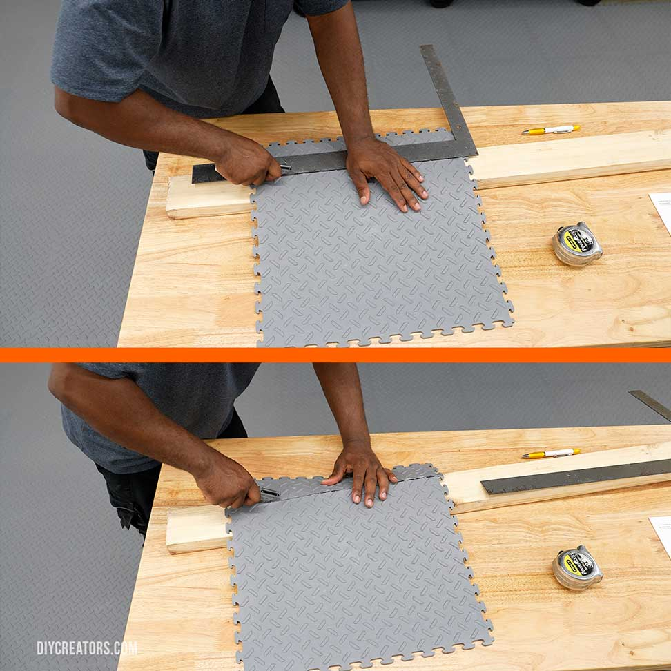 Cut the Husky PVC tiles using a utility knife
