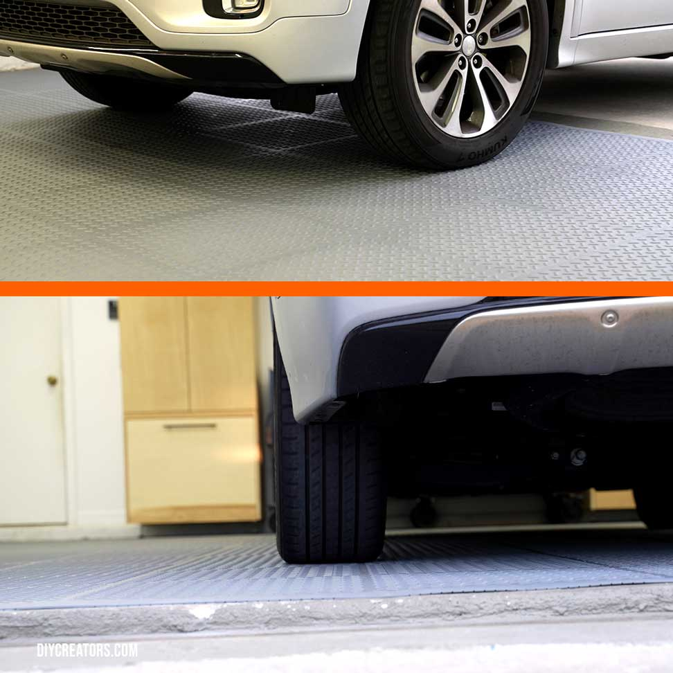 Husky PVC Flooring shown with a car parked on top