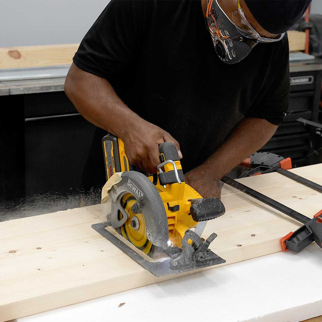 Use a circular saw to make cuts for your workbench