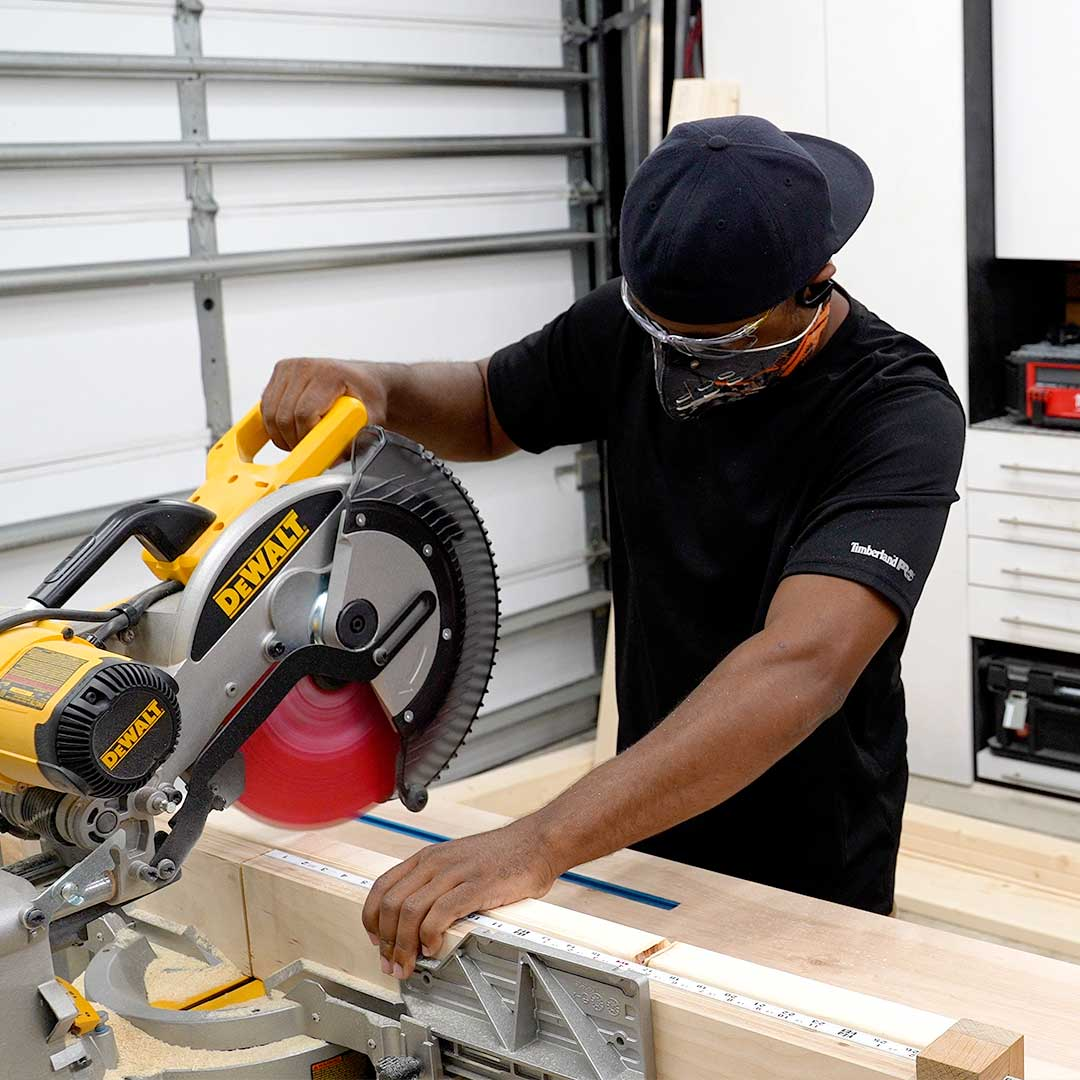 You can also use a miter saw to make cuts faster for your workbench