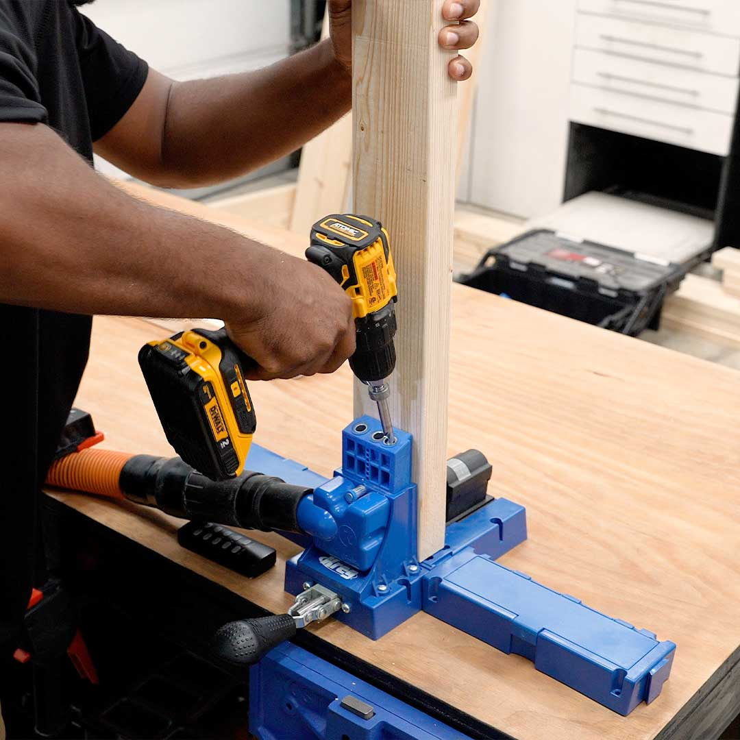 Use a pocket hole jig to create your pocket holes to assemble the workbench