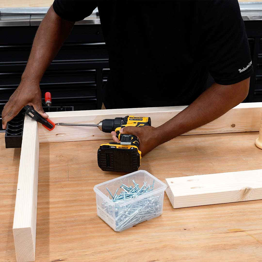 Start building your workbench by building the frame the table will sit on