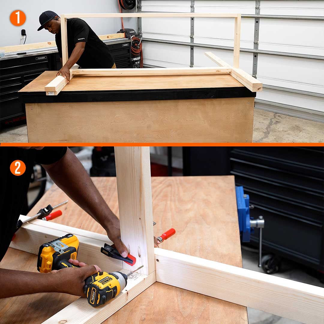 Attach the workbench posts to the frame