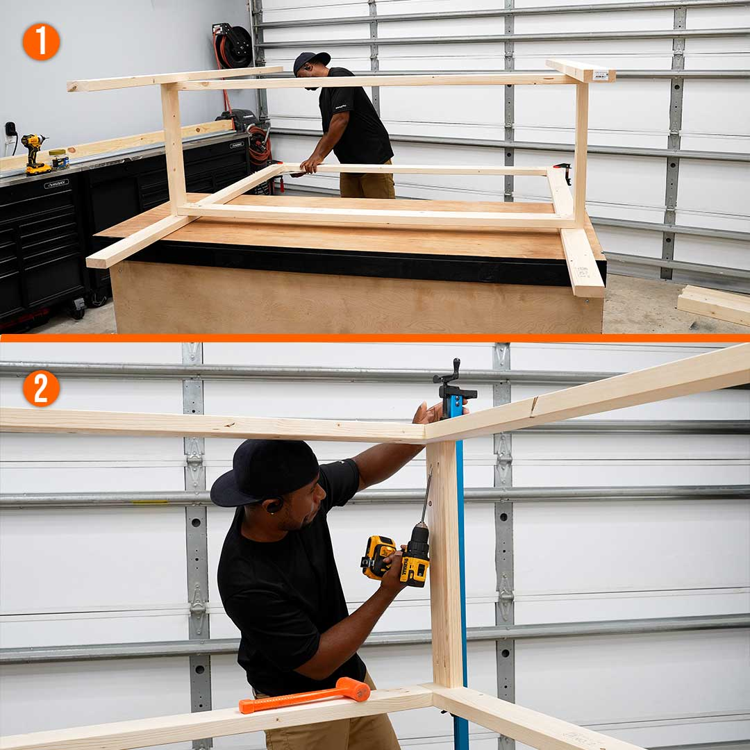 Assemble the top frame of the workbench