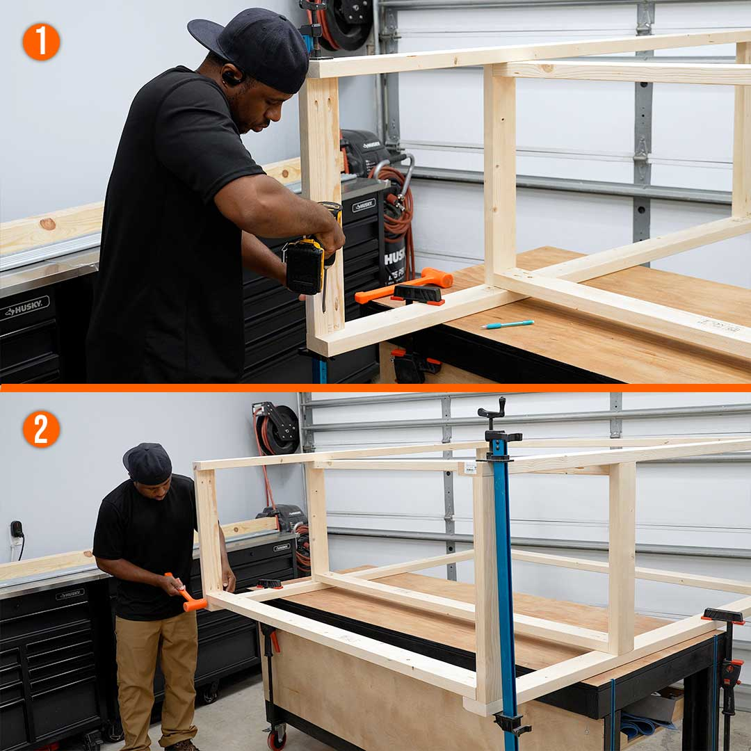 Assemble the lower shelf frame for the workbench