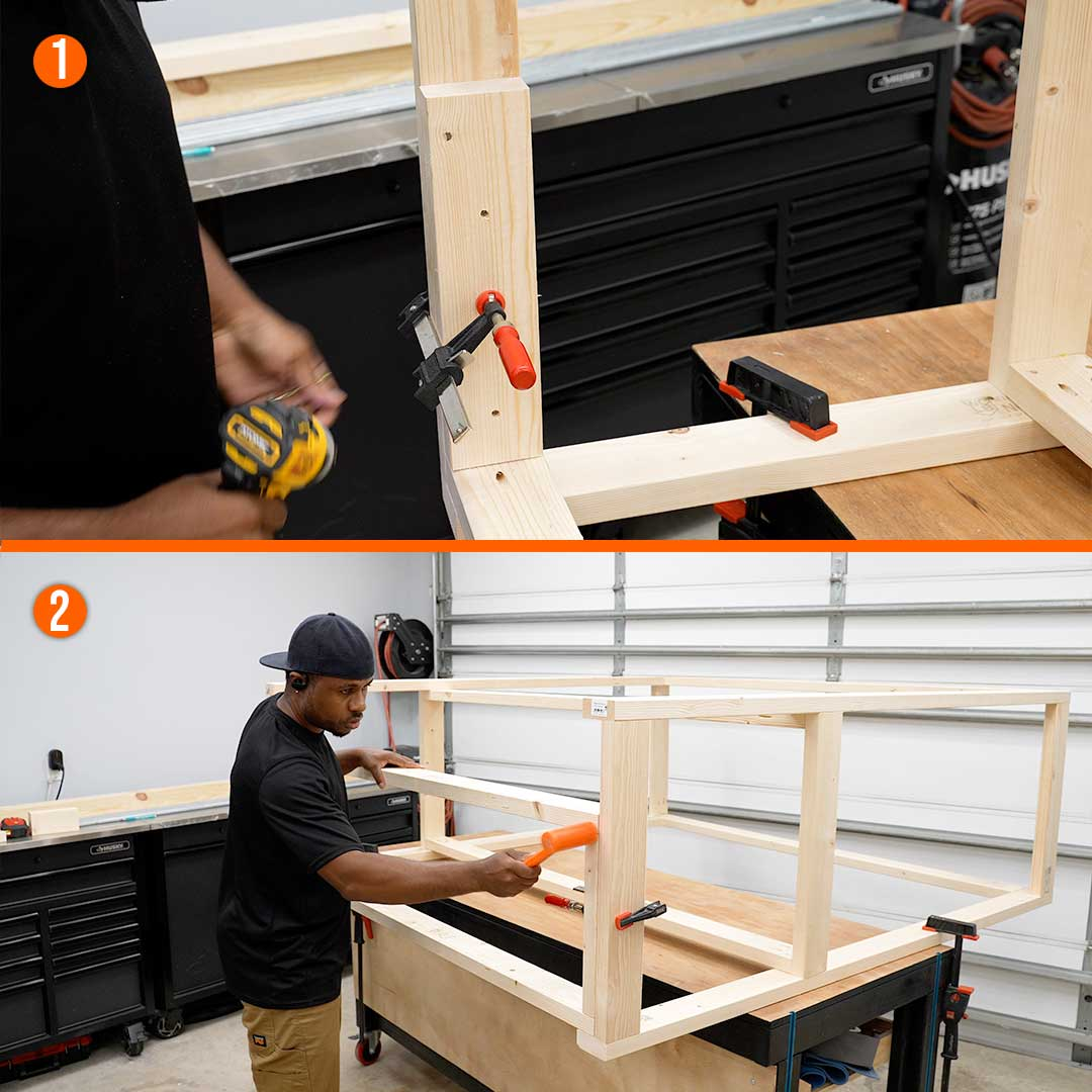 To set the workbench shelf's depth, use two 2x4 on either side to determine where it will be.