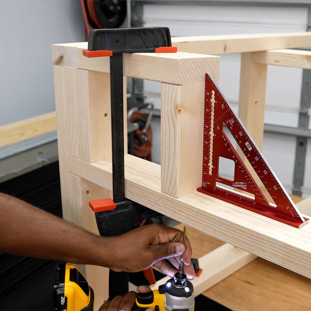 Create frames for additional storage on the bottom shelf of the workbench