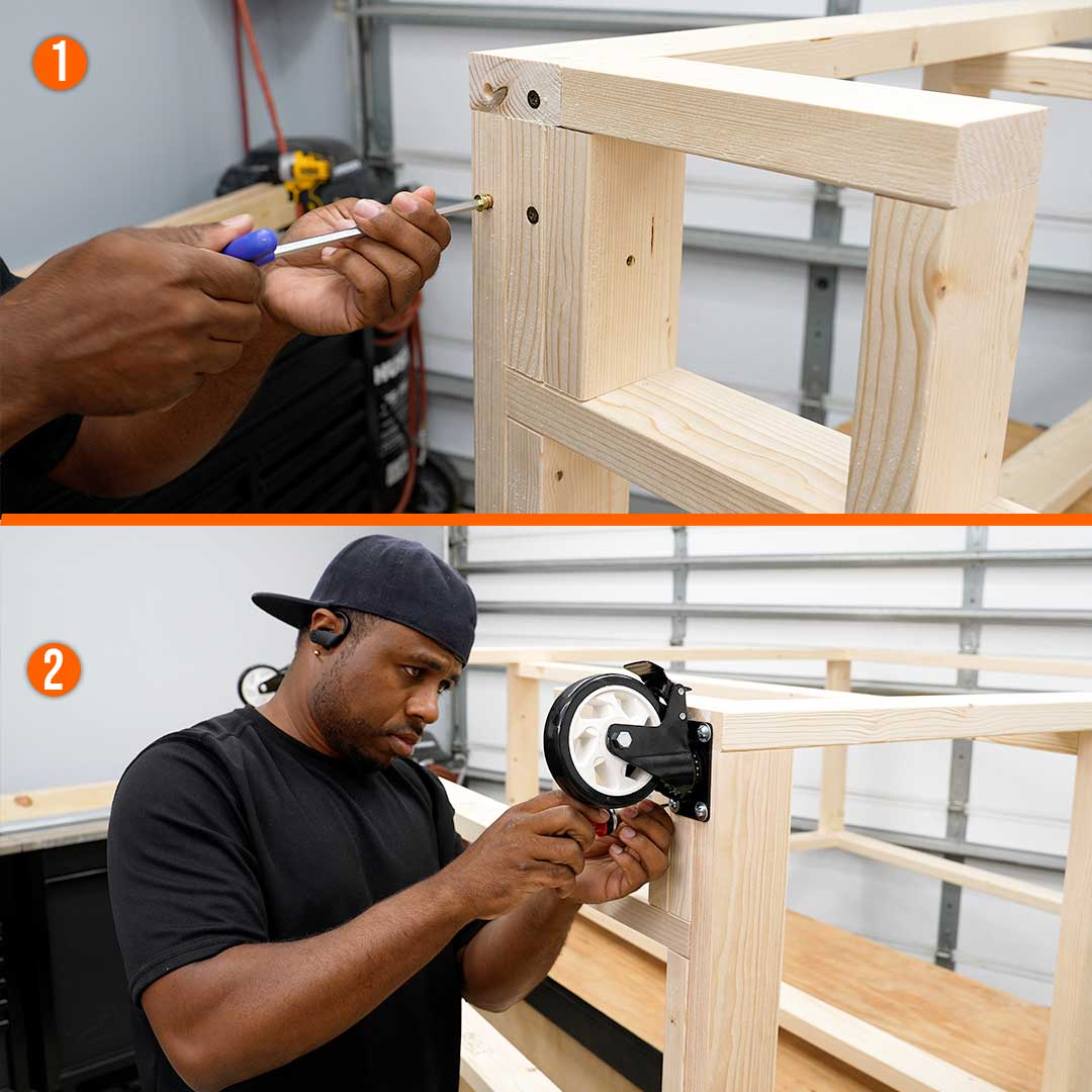 Add casters to your workbench to keep it mobile
