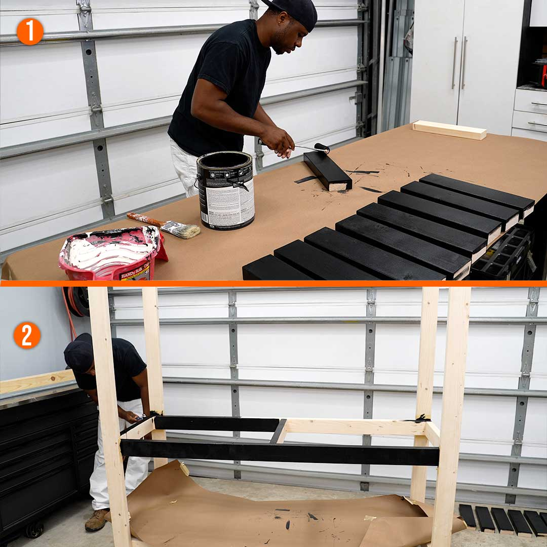Paint the slats for the workbench's lower shelf before attaching them and then paint the workbench