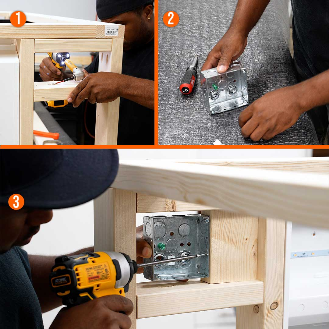 Build a frame for and attach the electrical box that will house the outlet and switch
