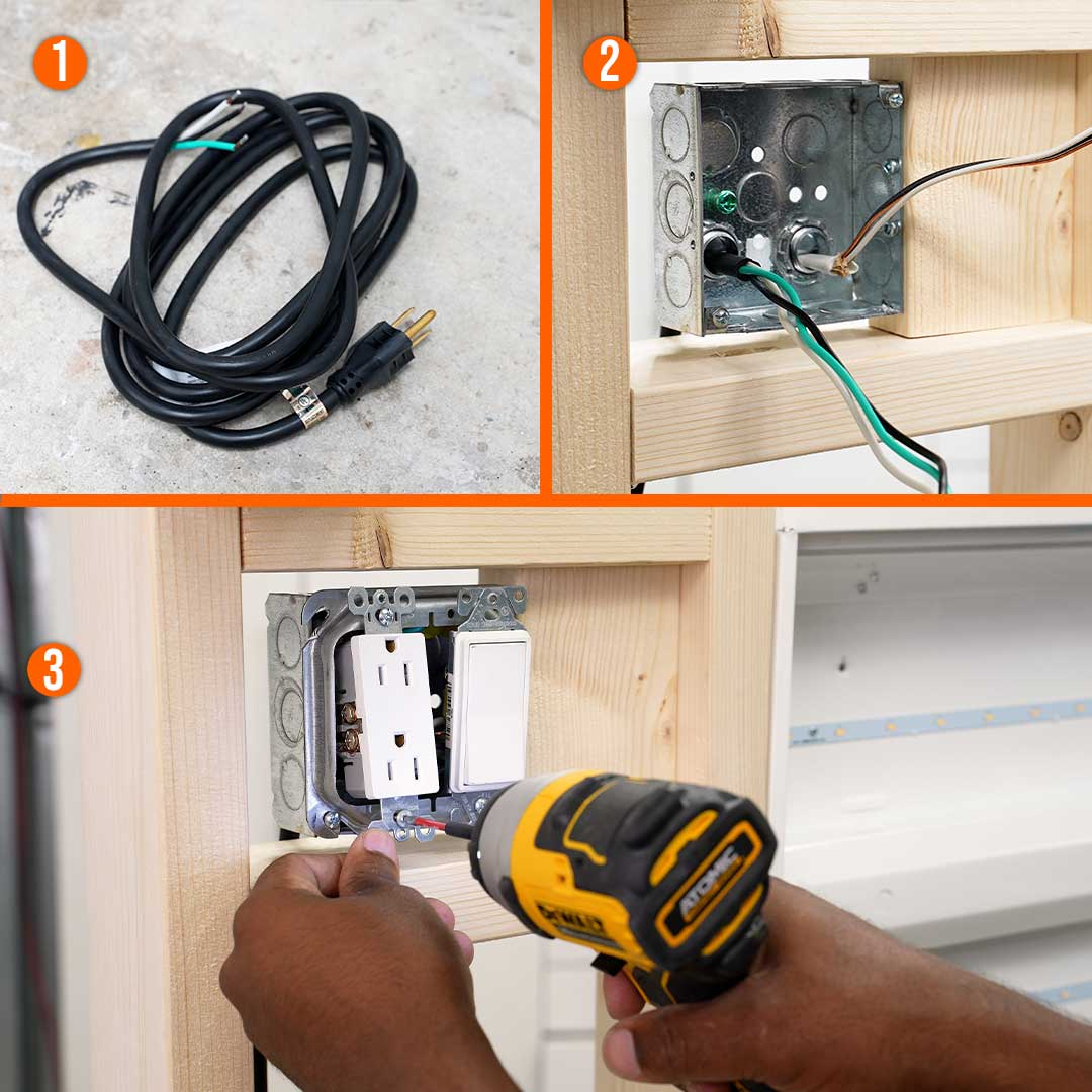 Run the electrical wires through clamps and wire up the outlet and switch
